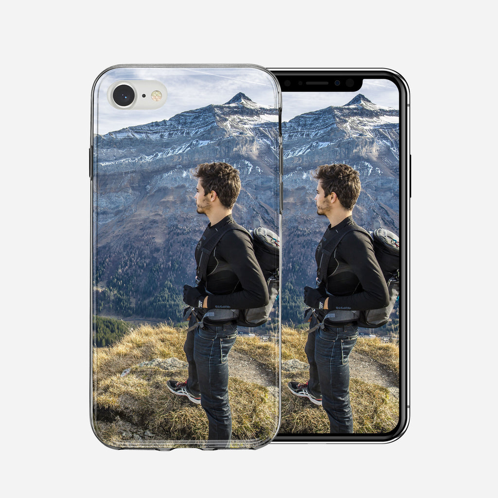 Man with backpack on Mountain, iPhone 7/8 Custom Phone Case From Tiny Quail