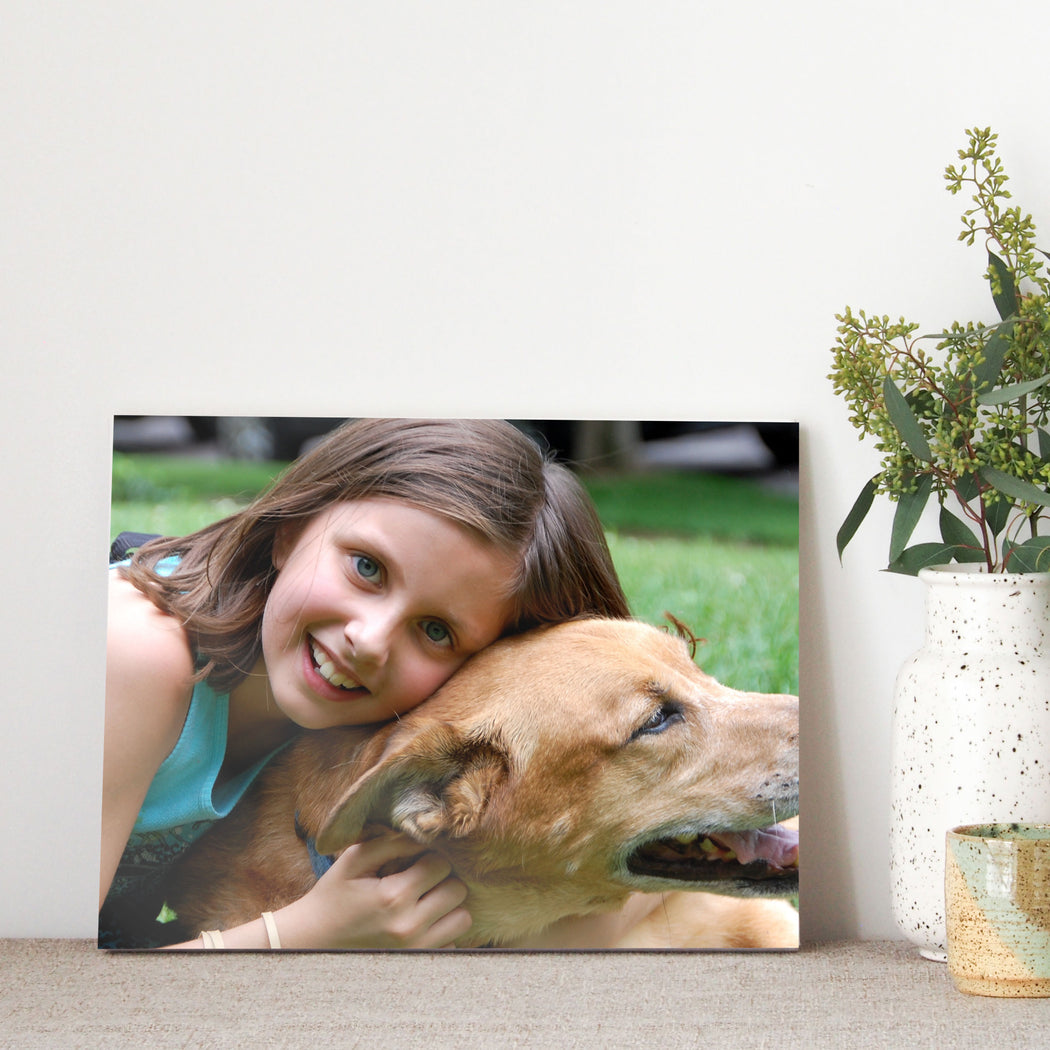 "Girl hugging dog 8"" x 10"" Photos on Glass from Tiny Quail"