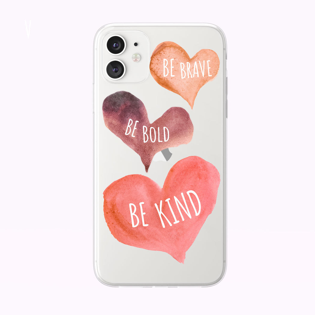 Be kind Watercolor Hearts Clear iPhone Case from Tiny Quail