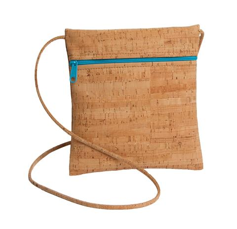 Be Lively Small Cross Body Bag with All Cork Aqua Zipper From Natalie Therese