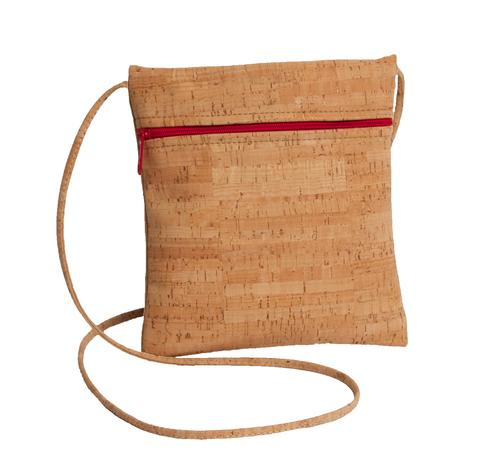 Be Lively Small Cross Body Bag with All Cork Red Zipper From Natalie Therese