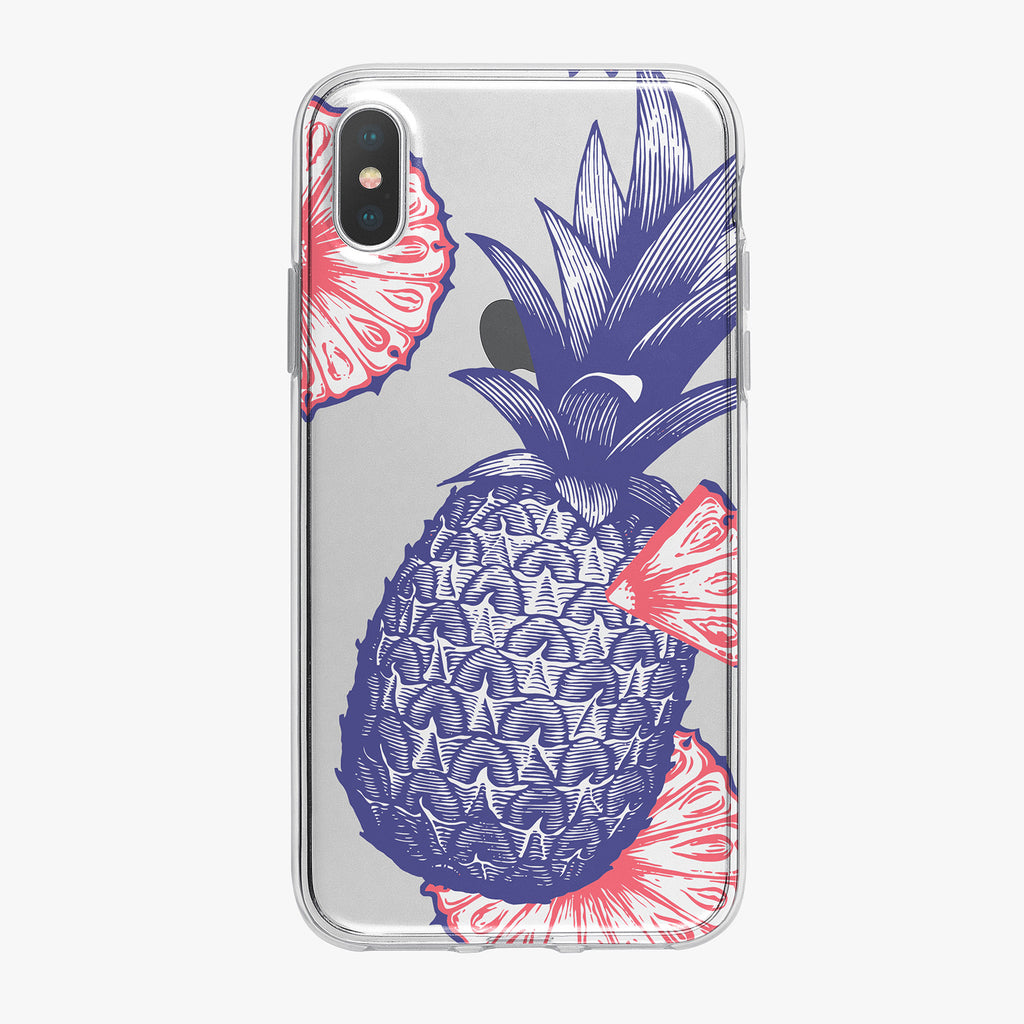 Blue Patriotic Pineapple iPhone Case by Tiny Quail