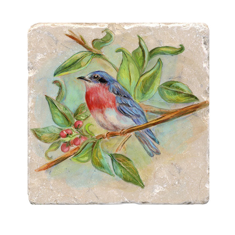 Blue Bird Tile Art Stone Trivet by Tiny Quail