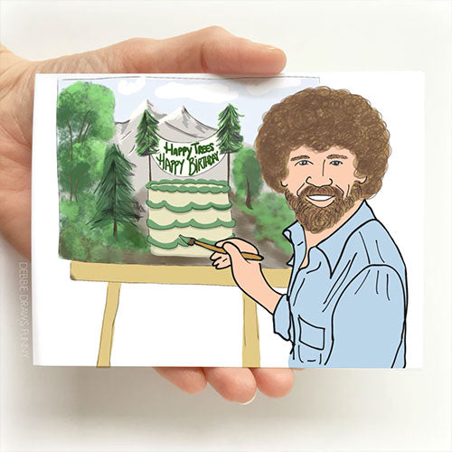 Bob Ross Funny Birthday Card - Tiny Quail