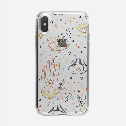 Cosmic Boho Eyes and Palm Pattern iPhone Case from Tiny Quail