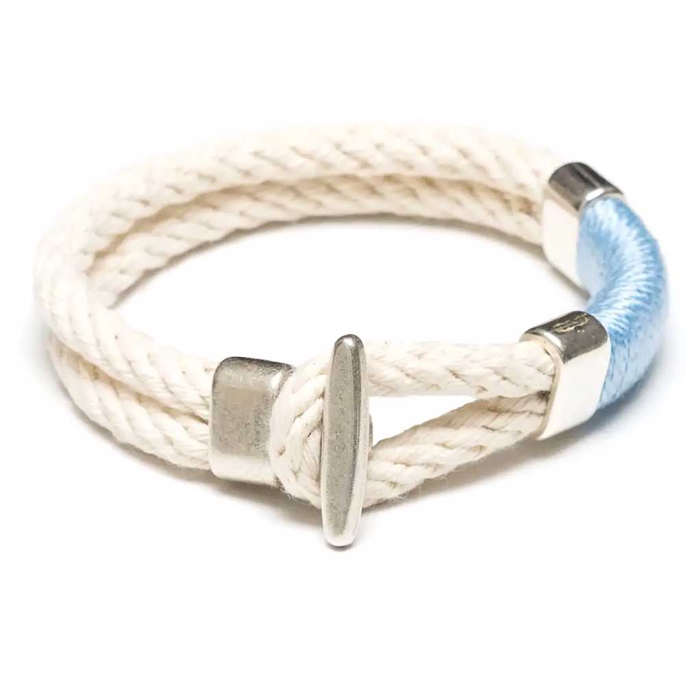 Cambridge Bracelet Ivory/Light Blue/Silver by Allison Cole Jewelry