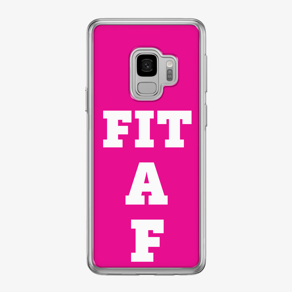 Fit A F Pink Samsung Galaxy Fitness Phone Case by Tiny Quail