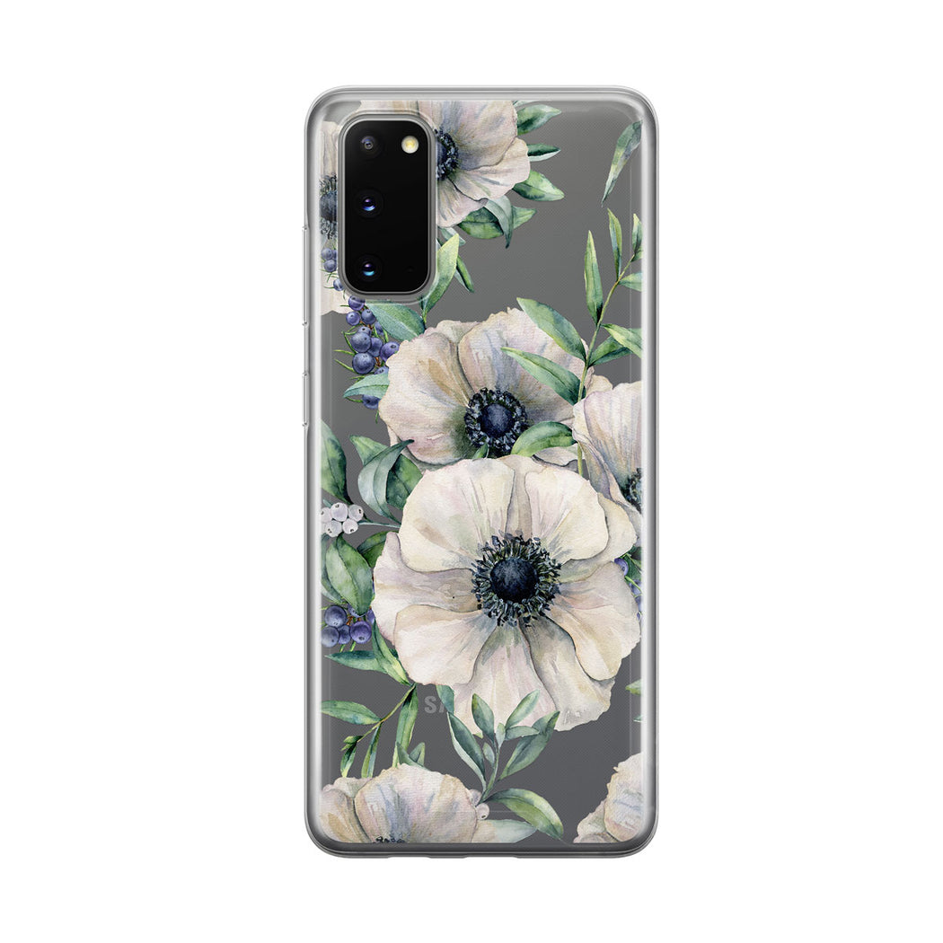 White Anemones Samsung Galaxy Phone Case from Tiny Quail