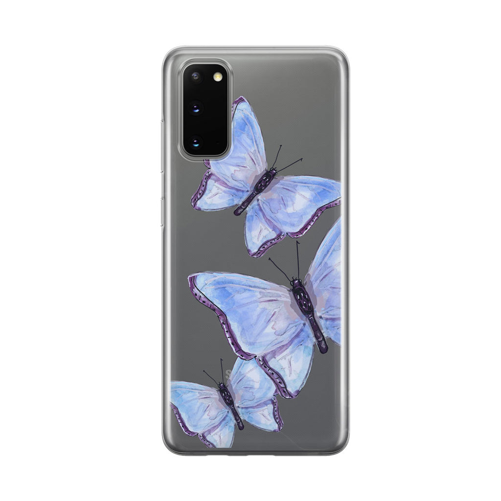 Blue Butterfly Trio Clear Samsung Galaxy Phone Case By Tiny Quail
