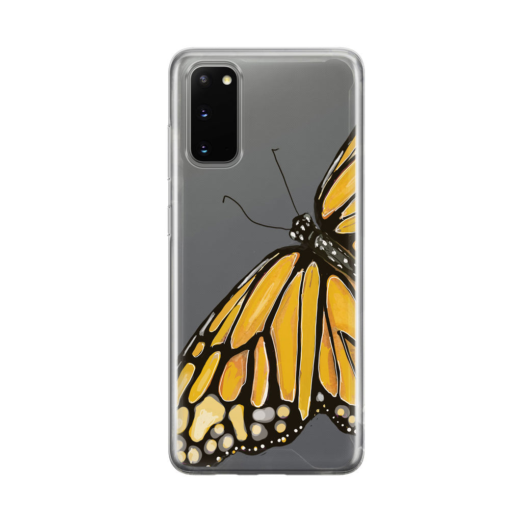Beautiful Yellow Butterfly Clear Samsung Galaxy Phone Case From Tiny Quail