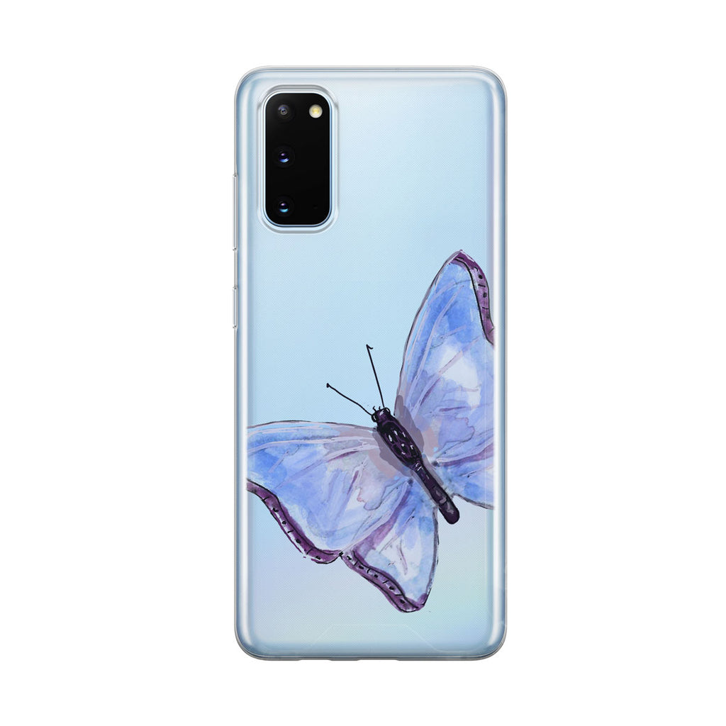 Beautiful Blue Butterfly Clear Samsung Galaxy Phone Case From Tiny Quail