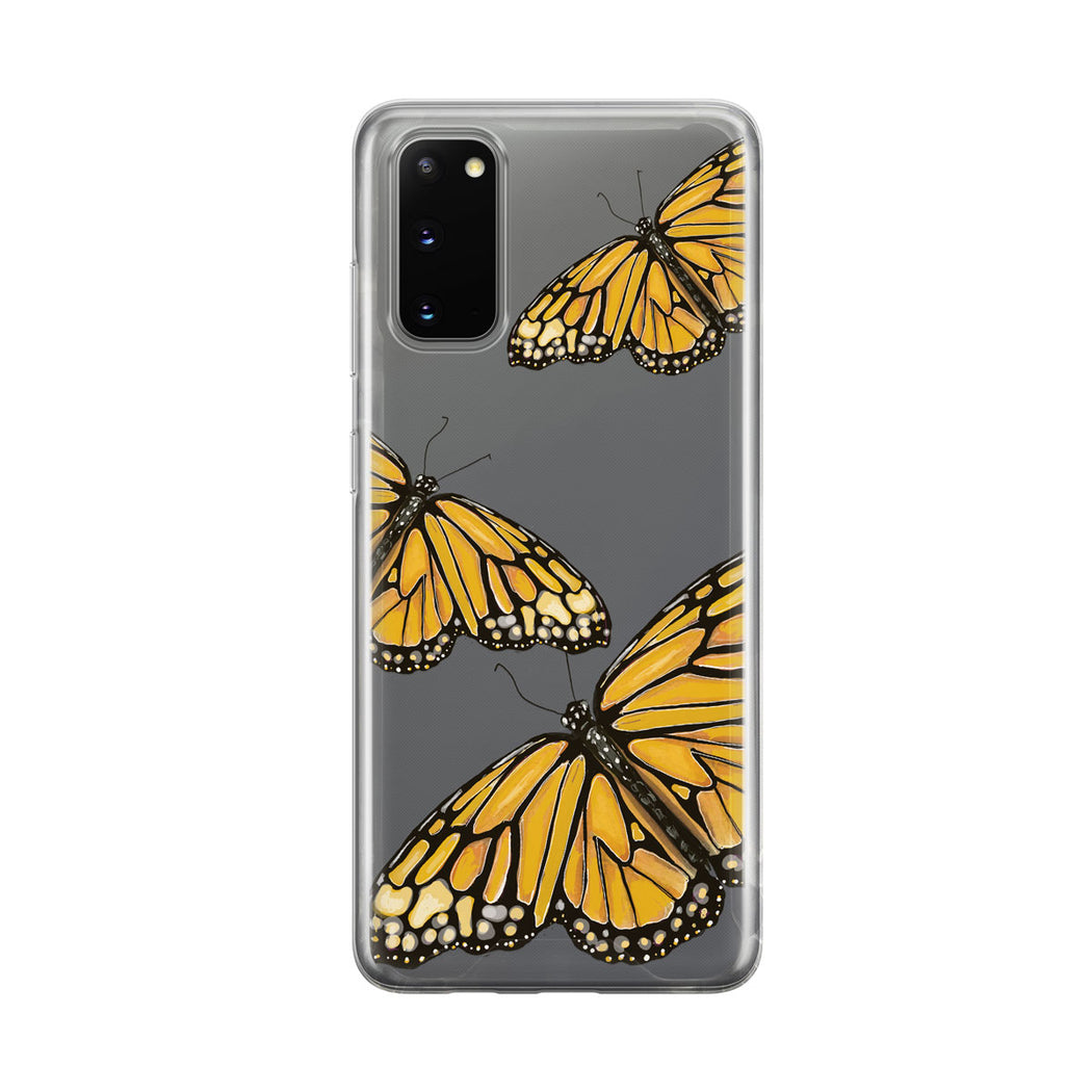 Yellow Butterfly Trio Clear Samsung Galaxy Phone Case From Tiny Quail