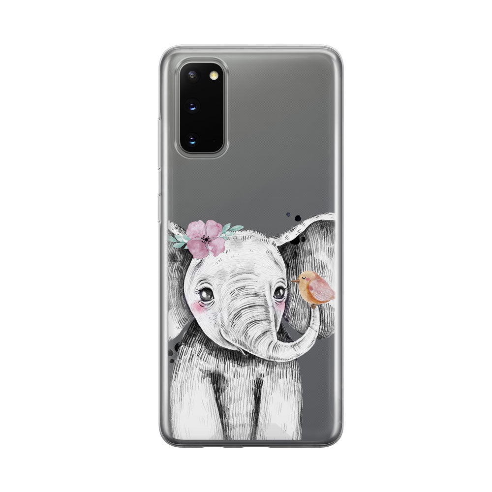 Baby Elephant with Bird Samsung Galaxy Phone Case from Tiny Quail