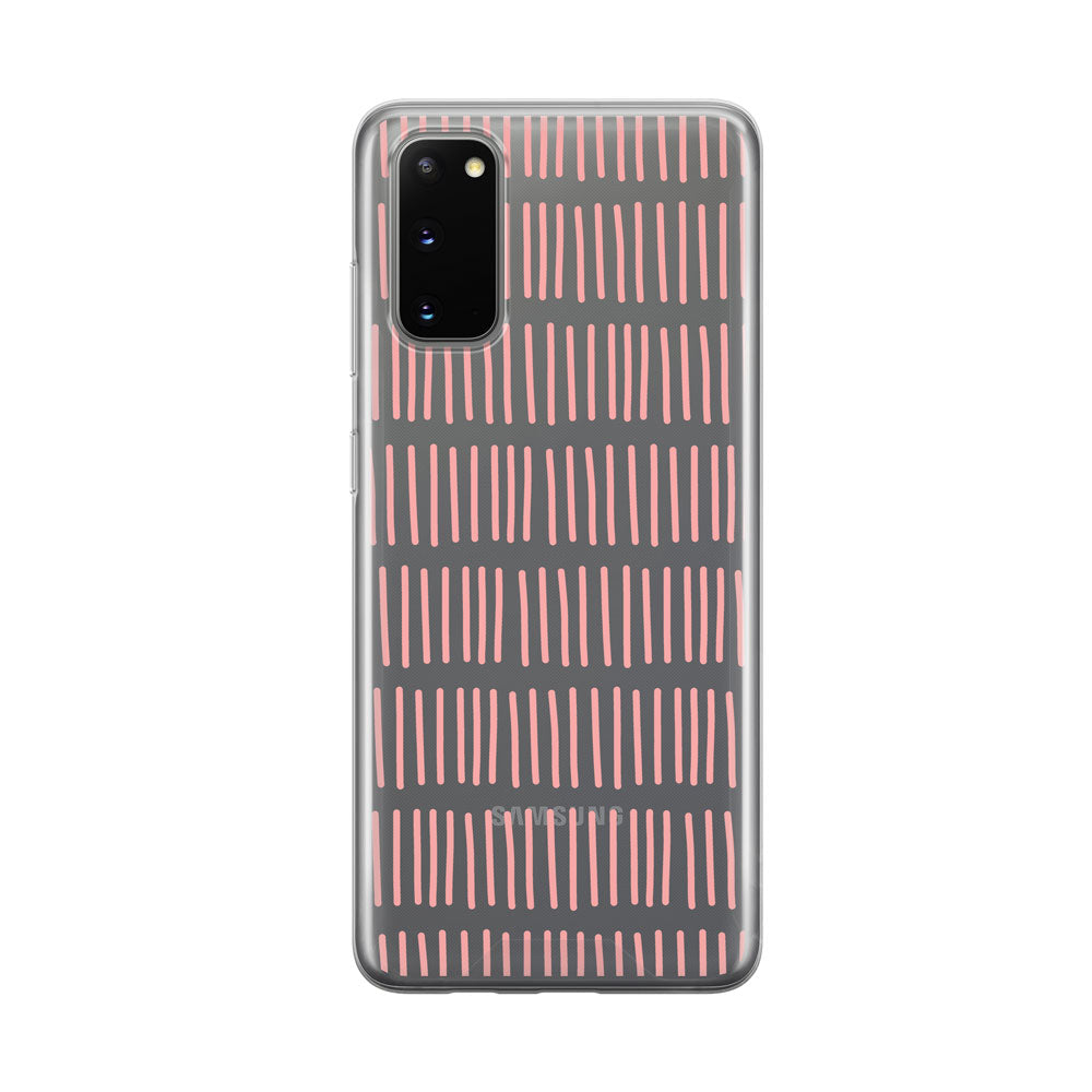 Fun Pink Lines Clear Samsung Galaxy Phone Case from Tiny Quail