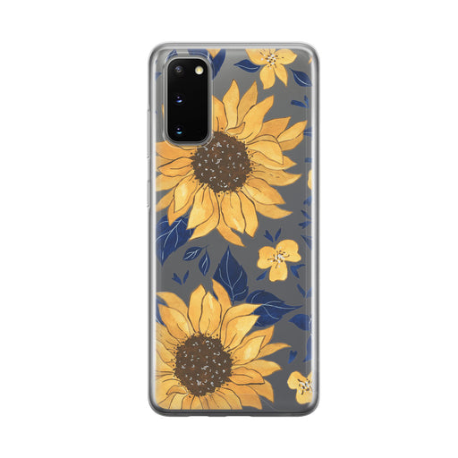Illustrated Sunflower Clear Samsung Galaxy Phone Case from Tiny Quail