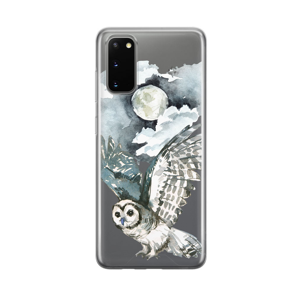 Flying Nighttime Owl Clear Samsung Galaxy Phone Case From Tiny Quail