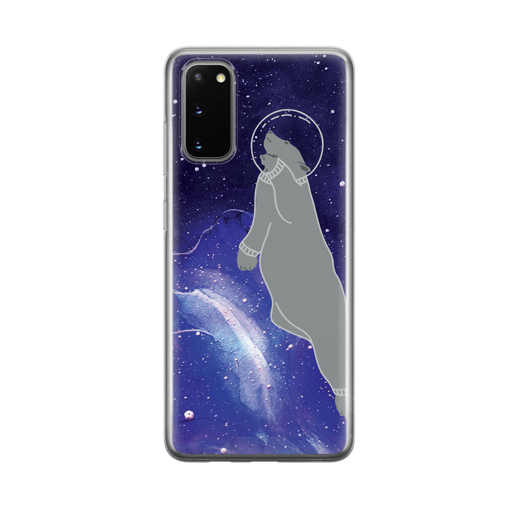 Bear In Space Clear Samsung Galaxy Phone Case From Tiny Quail