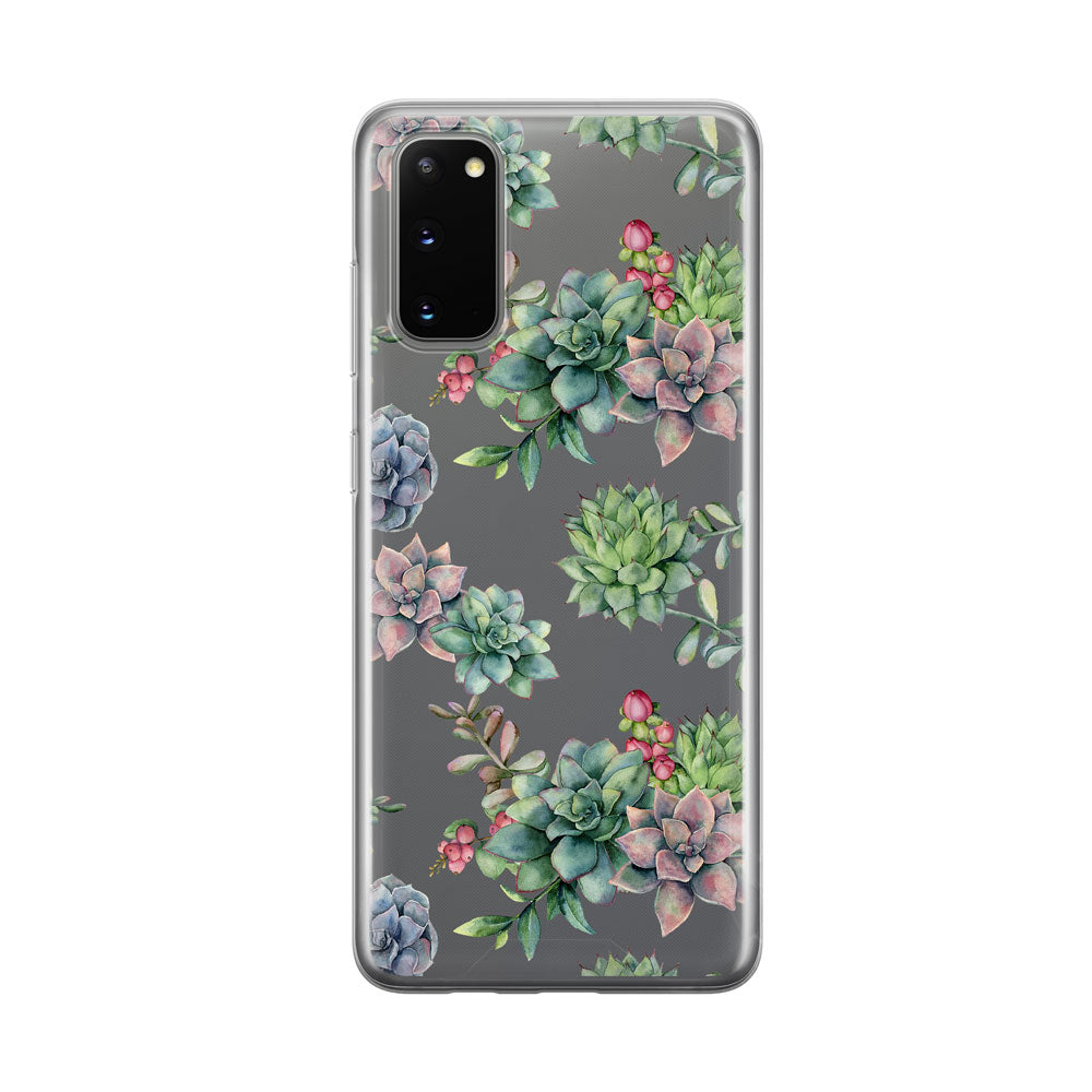 Colorful Succulents Clear Samsung Galaxy Phone Case from Tiny Quail