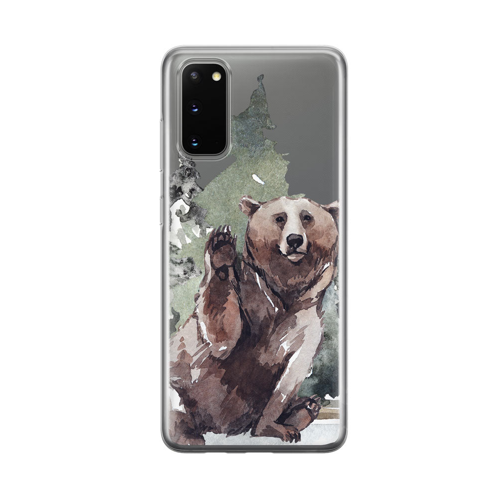 Waving Bear Clear Samsung Galaxy Phone Case From Tiny Quail
