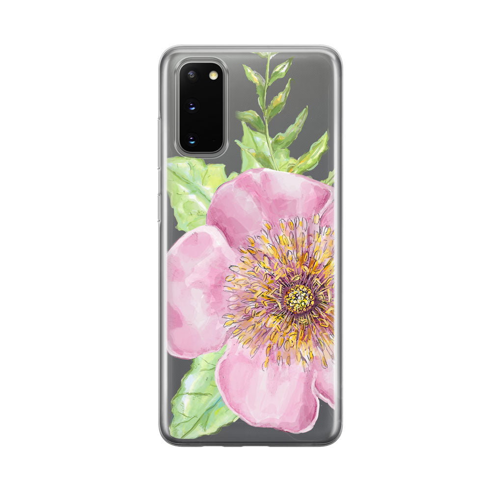 Wild Rose Clear Samsung Galaxy Phone Case from Tiny Quail