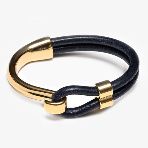 Hampstead Leather Bracelet For Women Navy and Gold by Allison Cole Jewelry