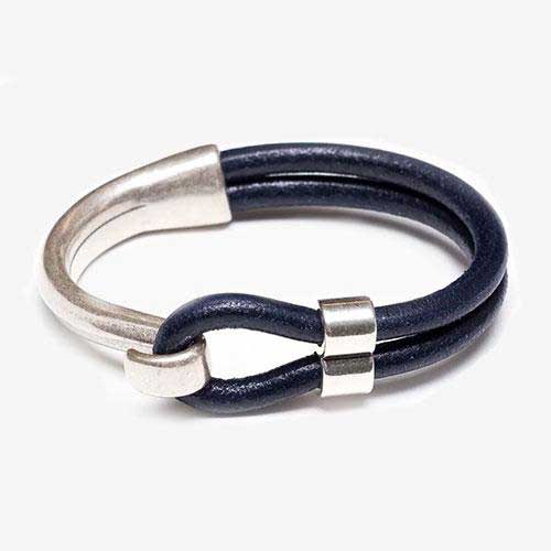Hampstead Leather Bracelet For Women, Navy and Silver by Allison Cole Jewelry