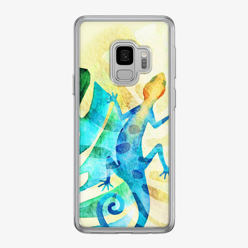 Vibrant Tropical Blue Lizard Samsung Galaxy Phone Case by Tiny Quail