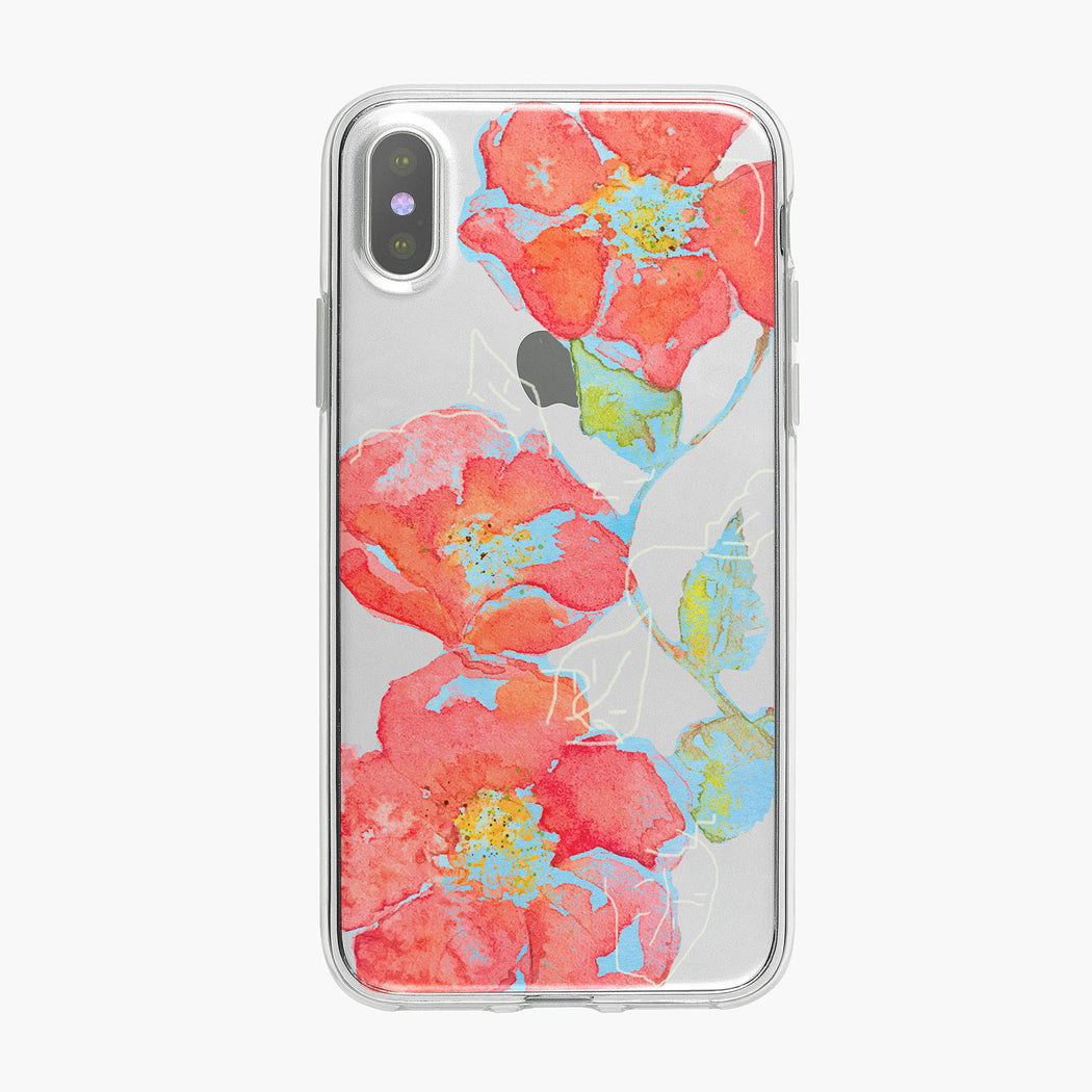 Colorful Orange and Red Flowers on Clear iPhone Case by Tiny Quail
