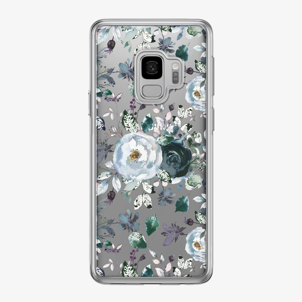 Boho Blue Peonies Pattern Clear Samsung Galaxy Phone Case from Tiny Quail