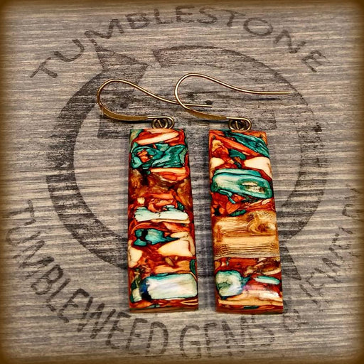 Orange Turquoise Rectangle Earrings Handcrafted by Tumblestoe Jewelry