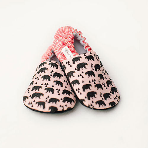 Pair of Organic Pink Bear Baby Shoes Moccs by Weepereas