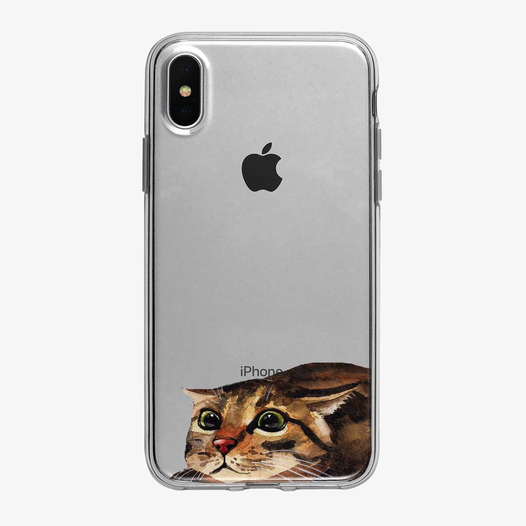 Crouching Attack Cat Clear iPhone Case from Tiny Quail
