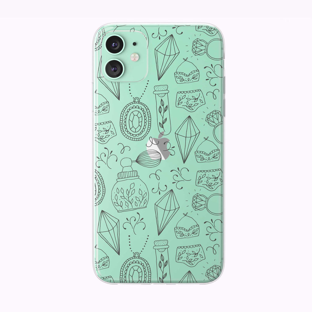 Summer Doodle Line Art Green Clear iPhone Case from Tiny Quail