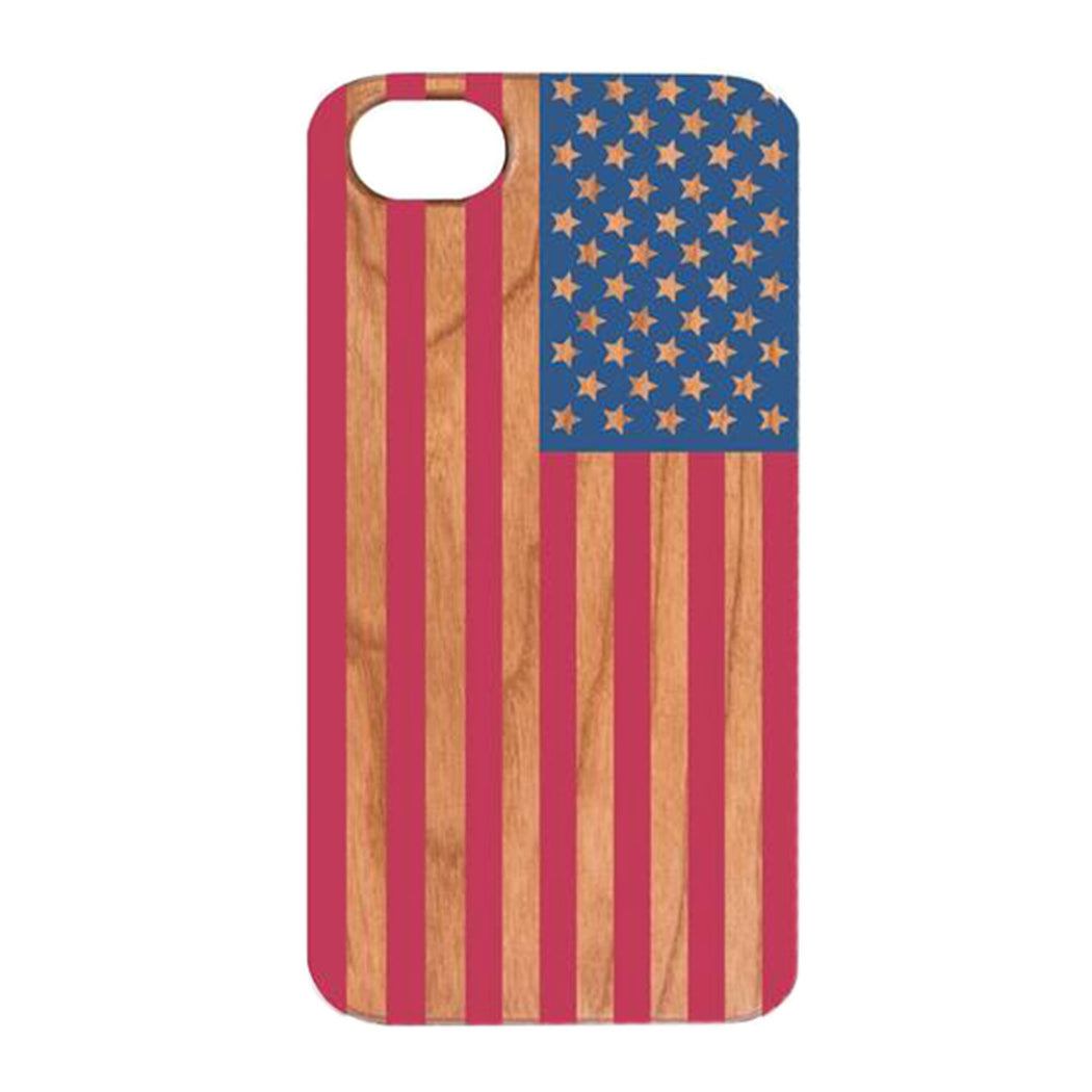 Cherry Wood USA Flag iPhone Case by OTTO