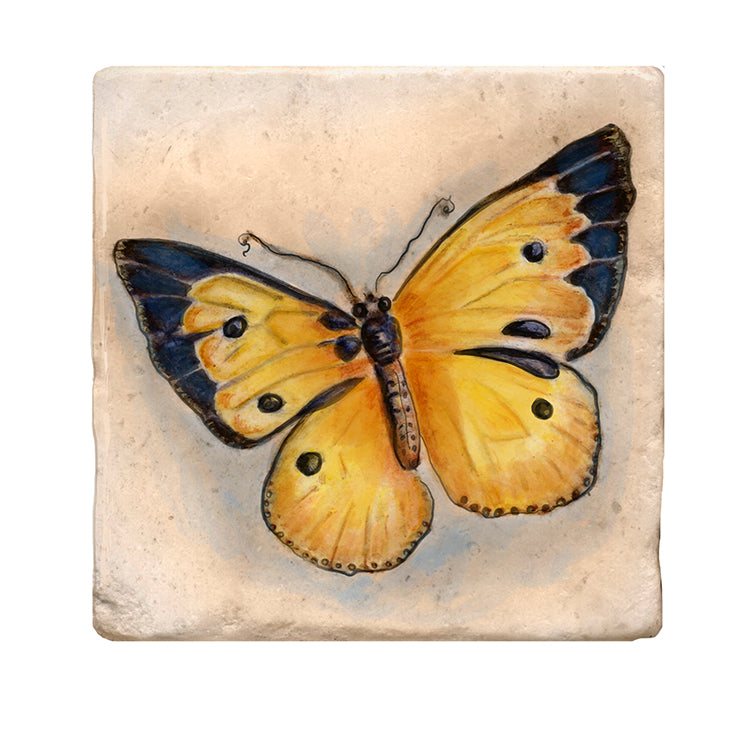 Yellow Butterfly Tile Art Stone Coasters by Tiny Quail