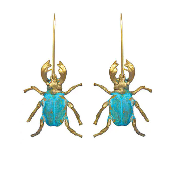 Verdigris Beetle Earrings By We Dream in Colour