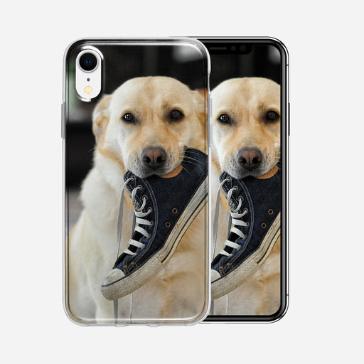 Dog with shoe, iPhone XR Custom Phone Case From Tiny Quail