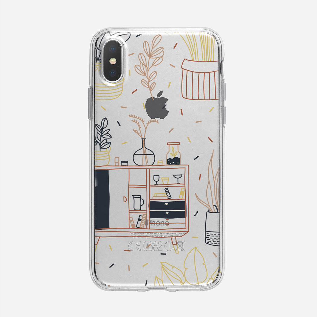 Boho Line Art Home Pattern Clear iPhone Case from Tiny Quail