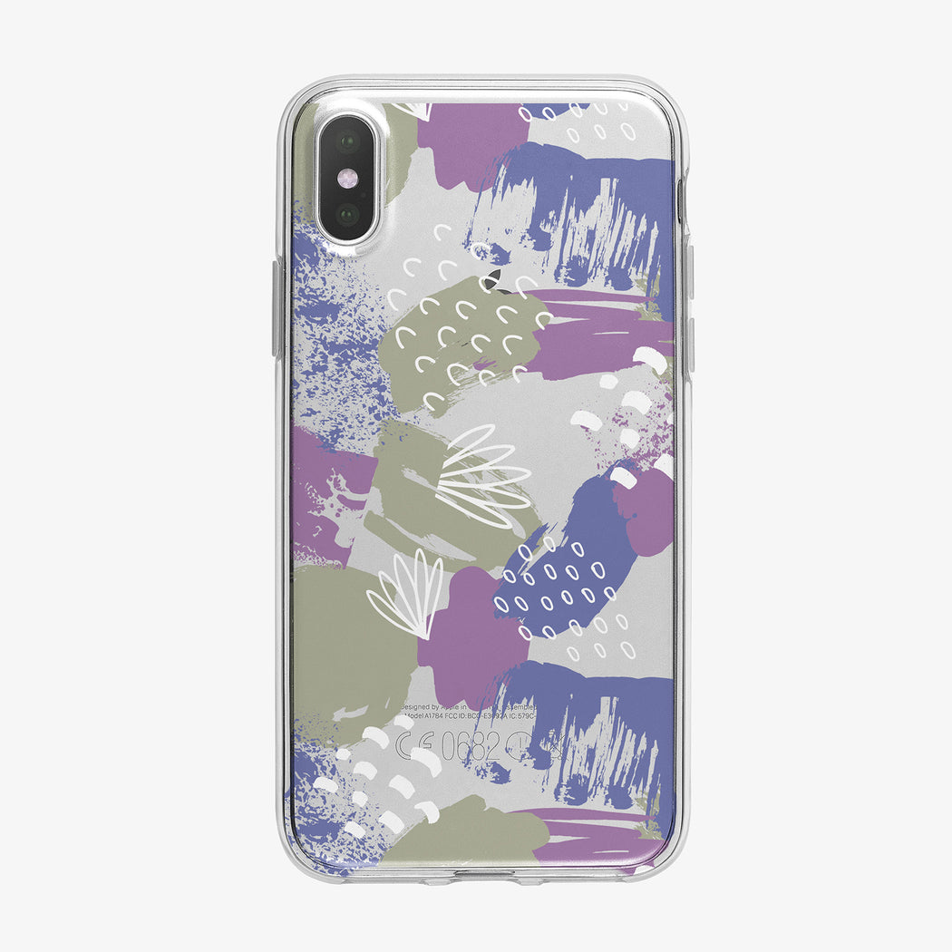 Abstract Colors Dark Pattern Clear iPhone Case from Tiny Quail