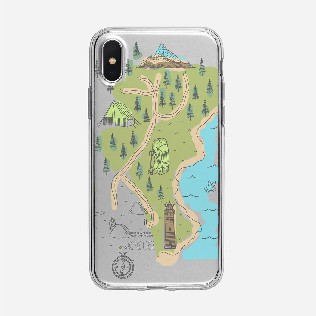 Line Art Adventure Map Clear iPhone Case from Tiny Quail