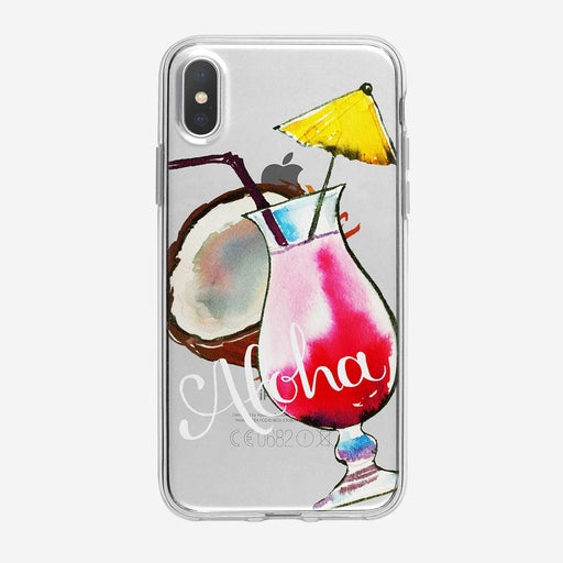 Aloha Strawberry Daiquiri Clear iPhone Case by Tiny Quail