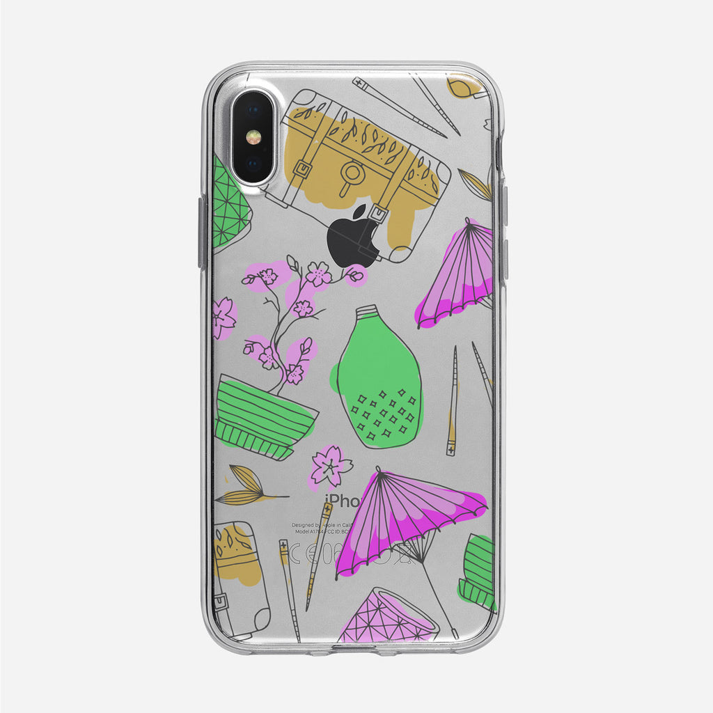 Bonsai and Chopsticks Line Art Pattern Clear iPhone Case from Tiny Quail