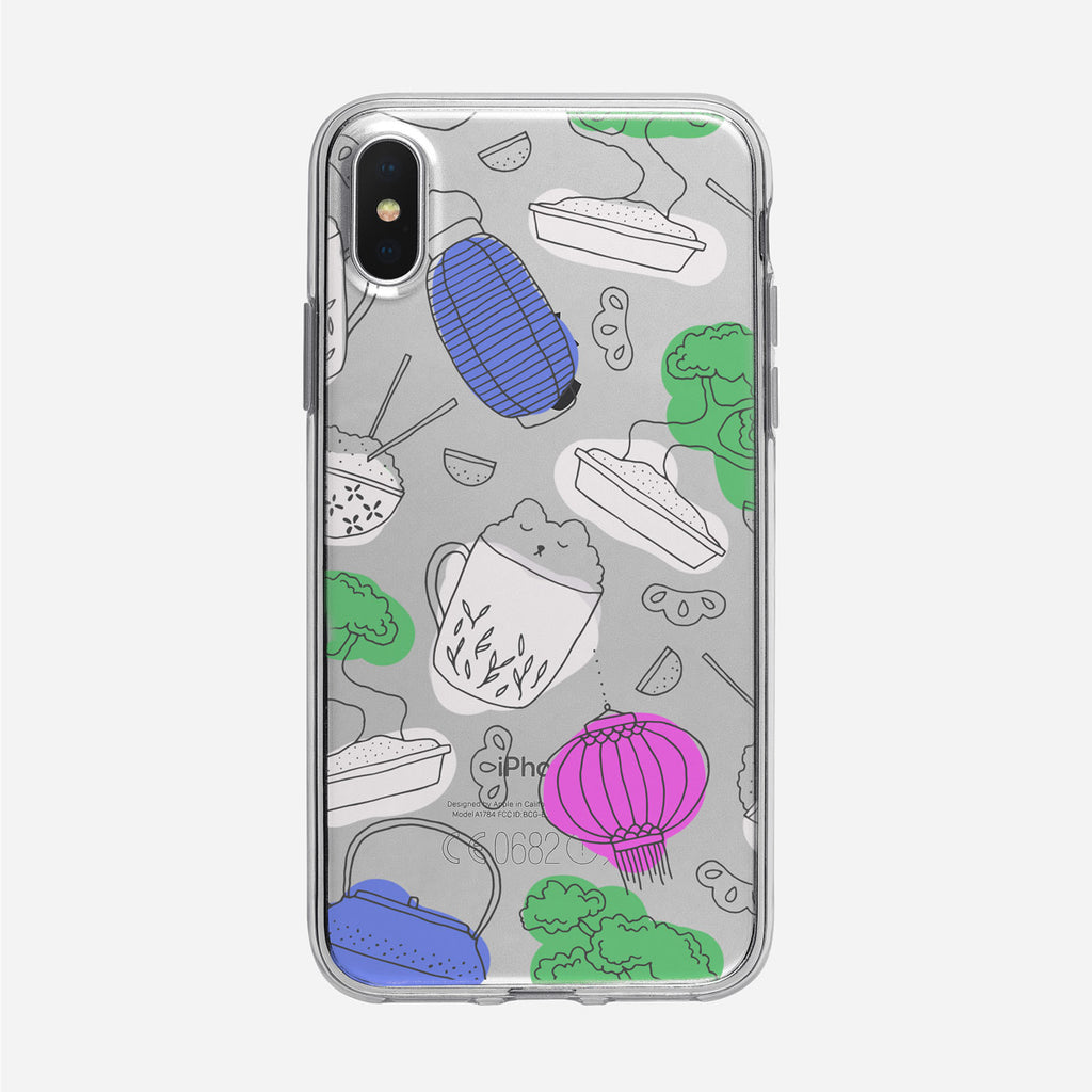 Cute Asian Inspired Line Art Clear iPhone Case from Tiny Quail