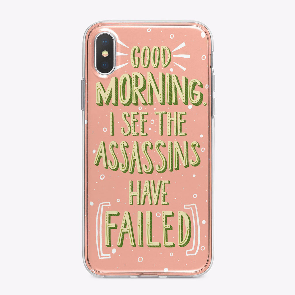 Assassins Have Failed Pink Background, Yellow Letters, Designer iPhone From Festoon Lettering