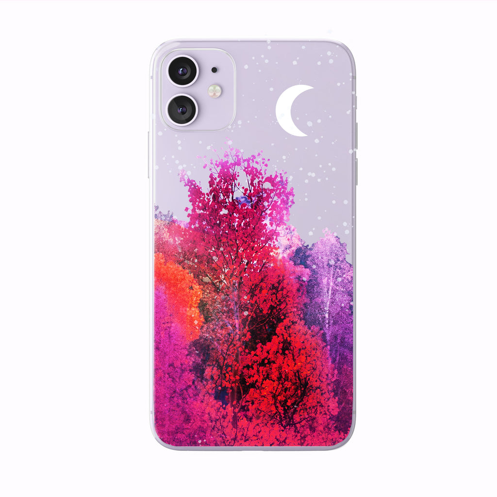 Autumn Evening Forest Moon on Purple iPhone case from tiny quail