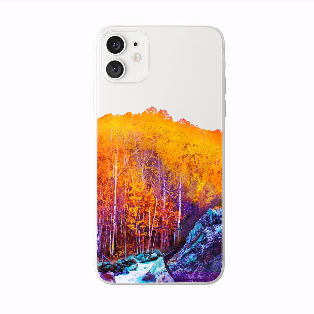 Autumn Forest River white iPhone Case from Tiny Quail