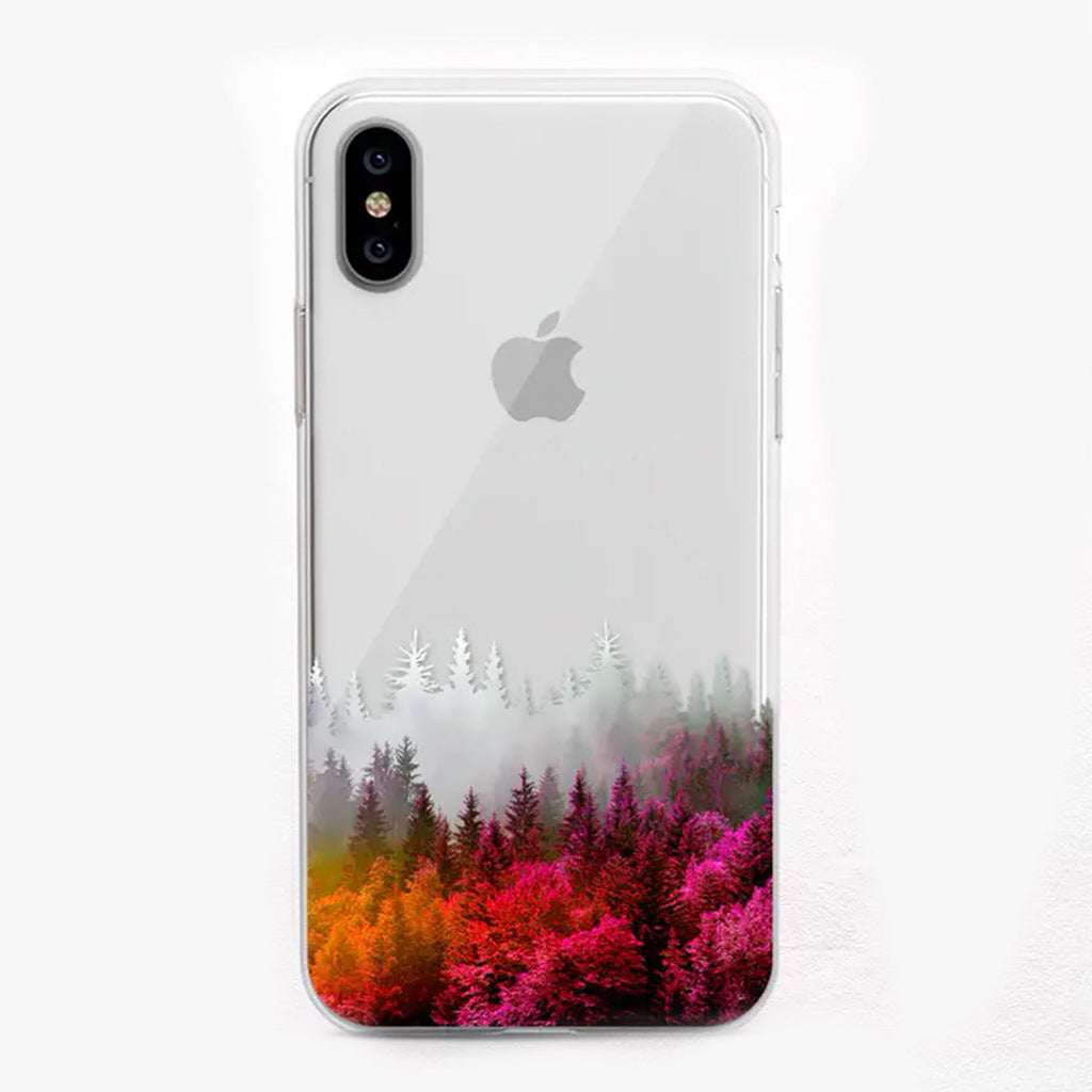 Orange, pink and green Autumn Forest Designer iPhone Case by Onesweetorange