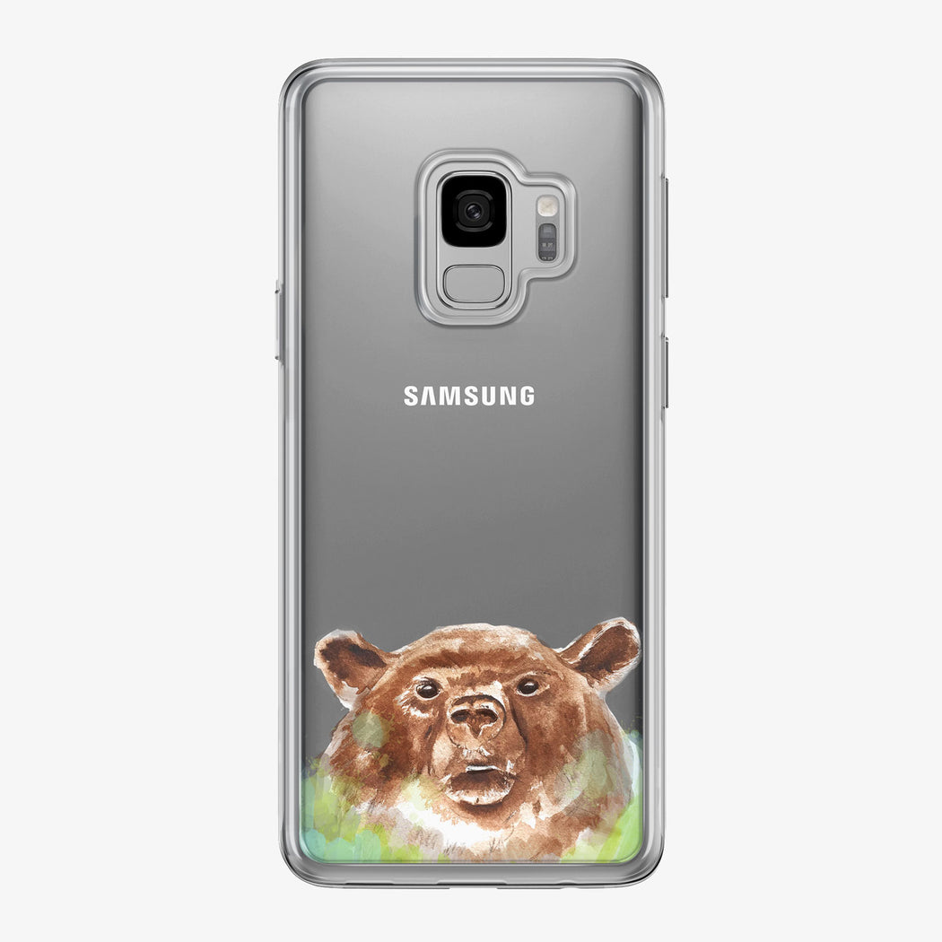 Brown Bear Clear Samsung Galaxy Phone Case by Tiny Quail