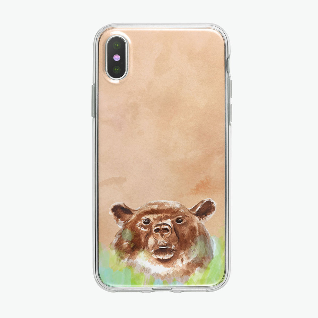 Brown Bear On Beige iPhone Case by Tiny Quail