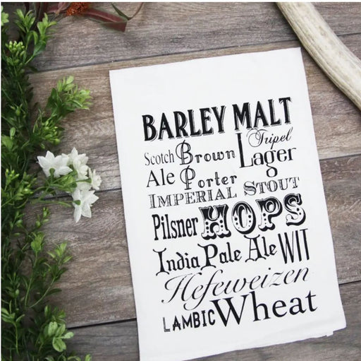 Beer Words 100% Cotton Kitchen Towel From the Coin Laundy